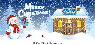 Christmas card with Santa house workshop and Snowman with gift box and bullfinch bird against winter forest background. New Year design postcard.
