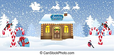 Christmas card with Santa house workshop, candy cane and gift box against winter forest background and Santa Claus in sleigh with reindeer team