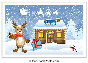 Christmas card with Santa house workshop, fawn deer with bullfinch bird and gift box against winter forest background and Santa Claus in sleigh with reindeer team. New Year postcard.