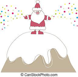 Christmas card with Santa. Vector illustration
