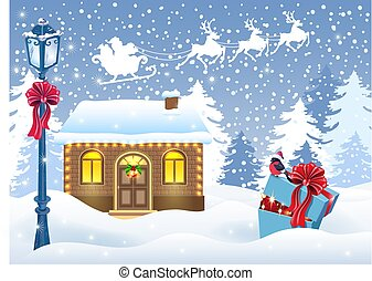 Christmas card with Santa's workshop and gift box against winter forest background and Santa Claus in sleigh with reindeer team
