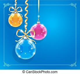 Christmas card with shining balls and ribbons. Eps10 vector...