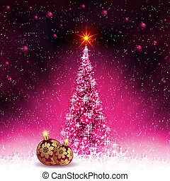 Christmas card with shiny Christmas tree and balls with golden snowflakes.