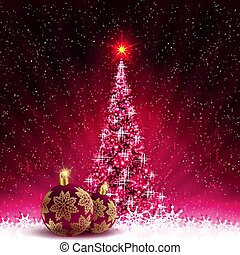 Christmas card with shiny Christmas tree and burgundy balls with golden snowflakes.