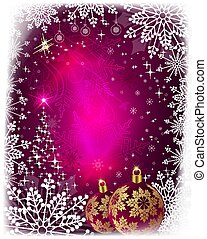 Christmas card with shiny Christmas tree, balls and snowflakes.
