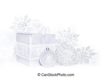 Christmas card with silver gift and decoration on white