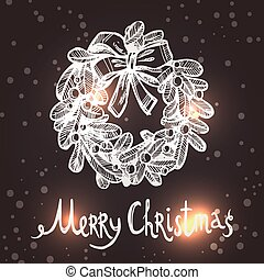 Christmas Card With Sketch Wreath