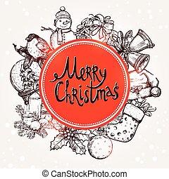 Christmas Card With Sketchs