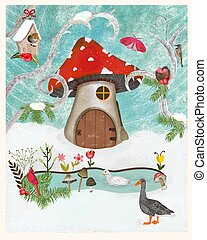 Christmas card with snow, animals and a mushroom house. - ...