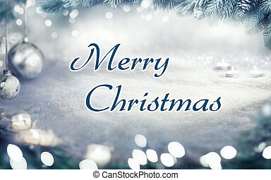 Christmas card with snow background
