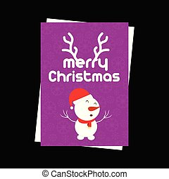 Christmas card with snow flakes pattern and snowman