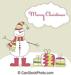 Christmas card with  snow man. Vector illustration