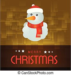 Christmas card with snow man yellow background - This Vector...