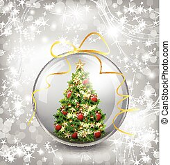 Christmas card with snow snowflakes, globe and christmas tree. Vector