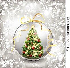 Christmas card with snow snowflakes, globe and christmas tree. Vector