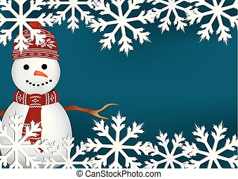 Christmas card with snowflakes and snowman
