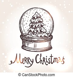 Christmas Card With Snowglobe