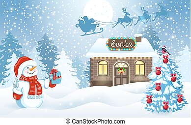 Christmas card with Snowman and Santa's workshop against forest background and Santa Claus in sleigh with reindeer team flying in the sky