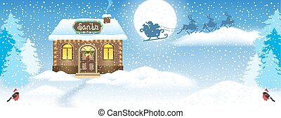 Christmas card with Snowman, brick house and Santa's workshop against winter forest background and Santa Claus in sleigh with reindeer team flying in the moon sky