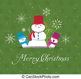 Christmas Card with snowman family