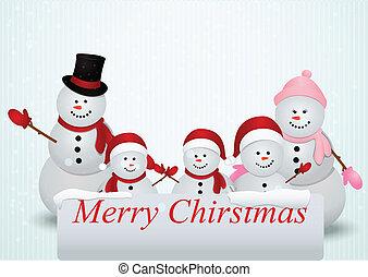Christmas card with snowman family