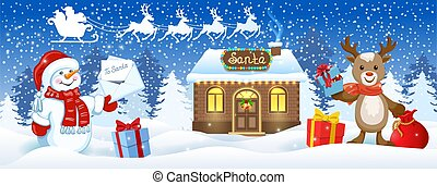 Christmas card with Snowman holding envelope with wish list, deer with gift box and Santa's workshop against winter forest background and Santa Claus in sleigh with reindeer team flying in sky