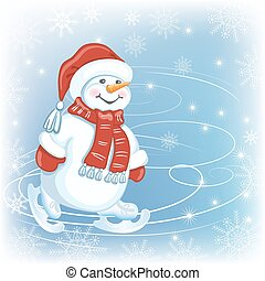 Christmas card with Snowman in Santa cap and in skates on...
