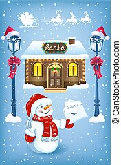 Christmas card with Snowman in Santa hat with Christmas letter for Santa Claus against workshop house background and Santa Claus in sleigh with reindeer team flying in the sky