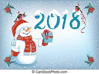 "Christmas card with Snowman in Santa hat with gift box and and  inscription ""2018"" with funny bullfinches"