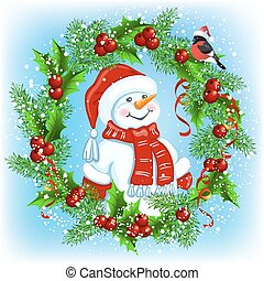 Christmas card with Snowman in Santa hat with wreath and bullfinches