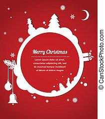 christmas card with snowman, present and christmas tree