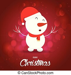 Christmas card with snowman red background