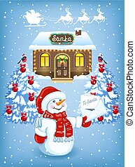 Christmas card with Snowman with Christmas letter for Santa Claus against workshop house background and Santa Claus in sleigh with reindeer team