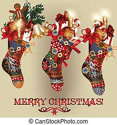 Christmas card with socks, baubles - Vector Christmas card...