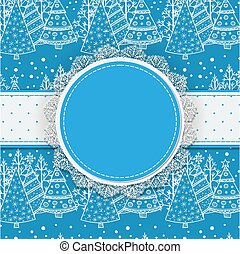 Christmas card with space for text - Round label with lace...