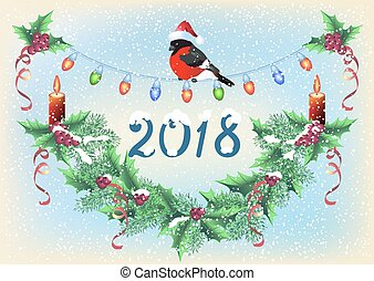 Christmas card with spruce garland, burning candle and bullfinch in Santa hat on the snowfall background