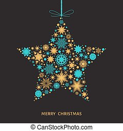 Christmas  card with  star with gold and blue snowflakes.