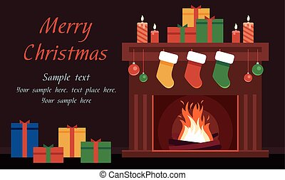 Christmas Card with the fireplace