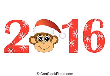 Christmas card with the numbers of the year 2016 and monkey