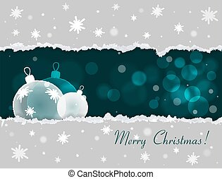 Christmas card with torn paper effect Snowflakes Bokeh