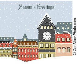 Christmas card with town in winter