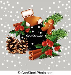 Christmas card with toys and cookies Vector. Happy...