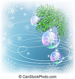 Christmas card with transparent balls