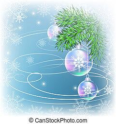 Christmas card with transparent balls