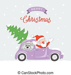 Christmas card with traveling santa and dog in retro auto