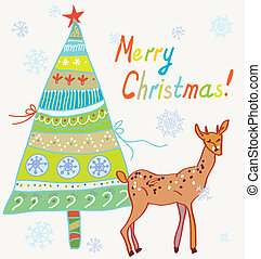 Christmas card with tree and deer funny design