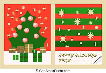 Christmas card with tree and gifts