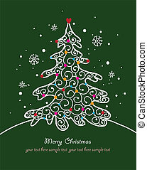 Christmas card with tree and ornaments, Xmas card