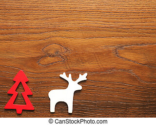 Christmas card with tree and reindeer