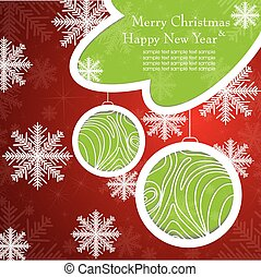 Christmas card with tree and snowflakes.